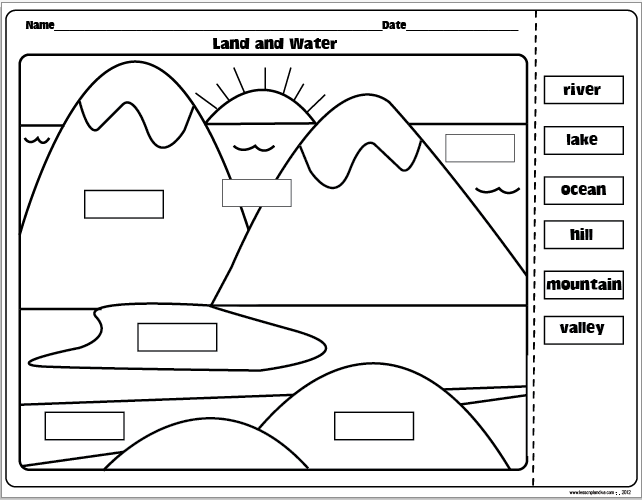 Printables Landforms Worksheets landforms and bodies of water freebie download