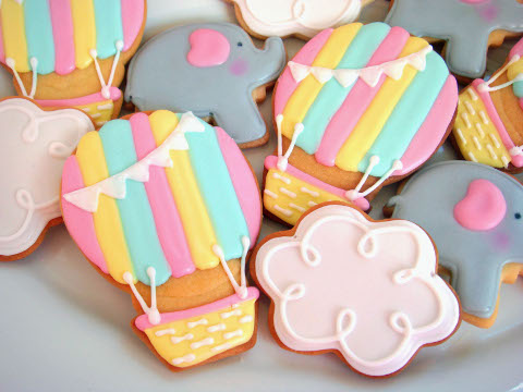 Butter Hearts Sugar Hot Air Balloon And Elephant Cookies