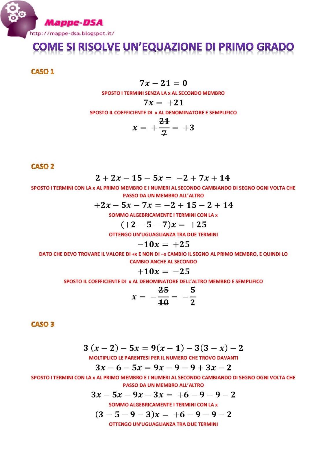 Risolvere un 39 equazione di primo grado e le soluzioni possibili for Problemi di primo grado a due incognite esercizi