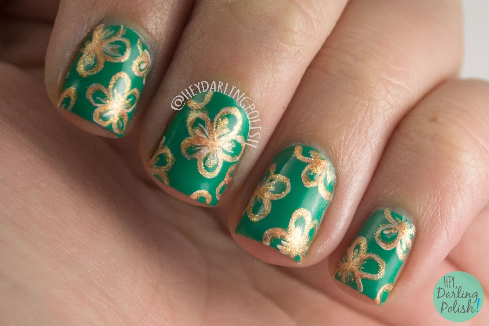 nails, nail art, nail polish, green, flowers, bronze, hey darling polish, the nail challenge collaborative, floral, tea party