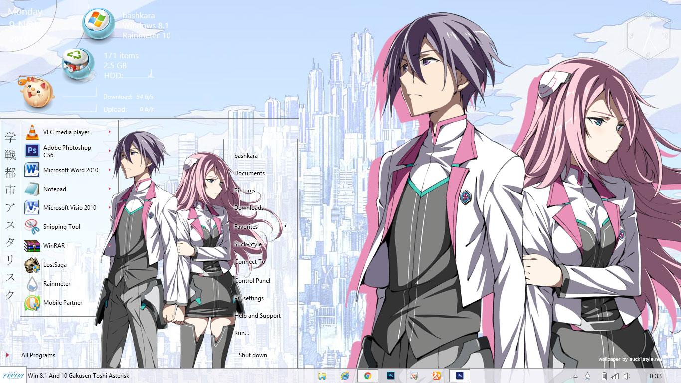 Gmail themes anime - Theme Windows 8 1 And 10 Gakusen Toshi Asterisk By Bashkara