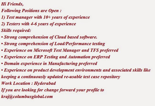 Tester Job opening at Hyderabad