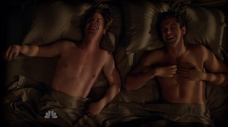 Neal Bledsoe and Christian Borle Shirtless in Smash s1e05