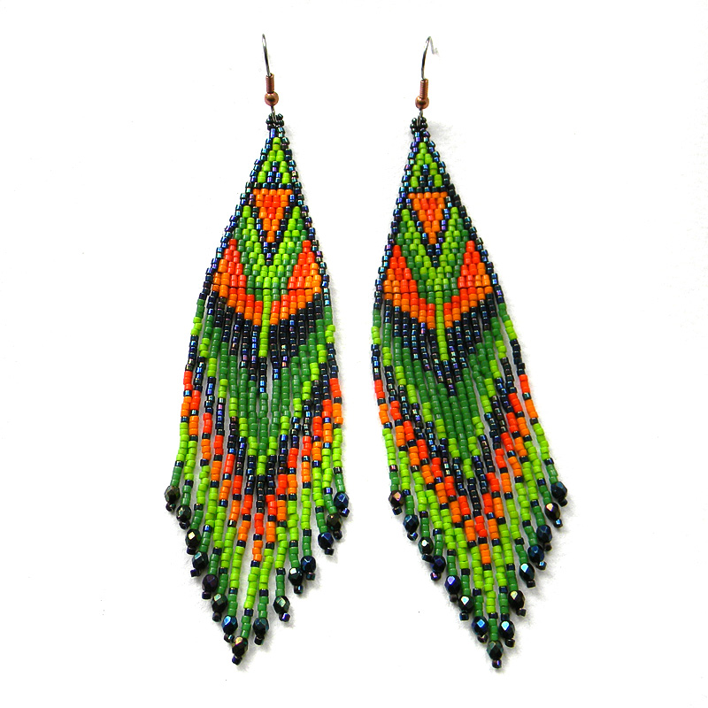 Colorful beaded earrings - ethnic style beadwork jewelry long dangle earrings - tropical earrings