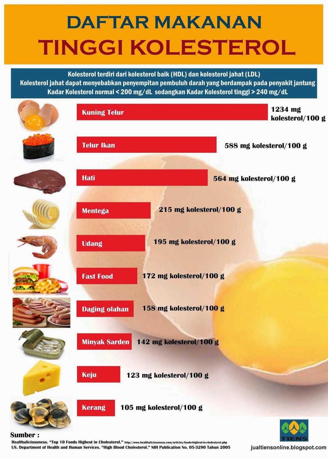daftar makanan tinggi kolesterol