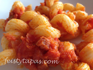 chorizo, pasta, macarrones, fusilli, twists, spanish, tapas, food,