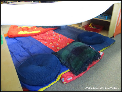 photo of: Camping Learning Center in Preschool, Making a 'tent'