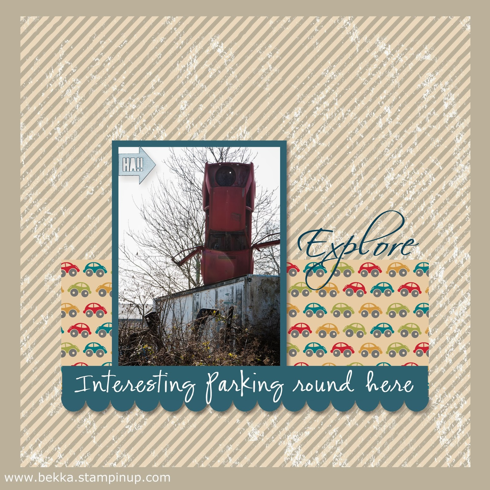 Exploring my surrounds - Interesting Parking!  Digital Scrapbook Page by UK Based Stampin' Up! Demonstrator Bekka Prideaux