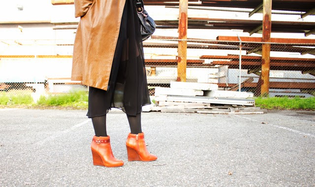 Vancouver fashion blogger Jasmine Zhu wearing vintage fur collar coat, tory burch booties