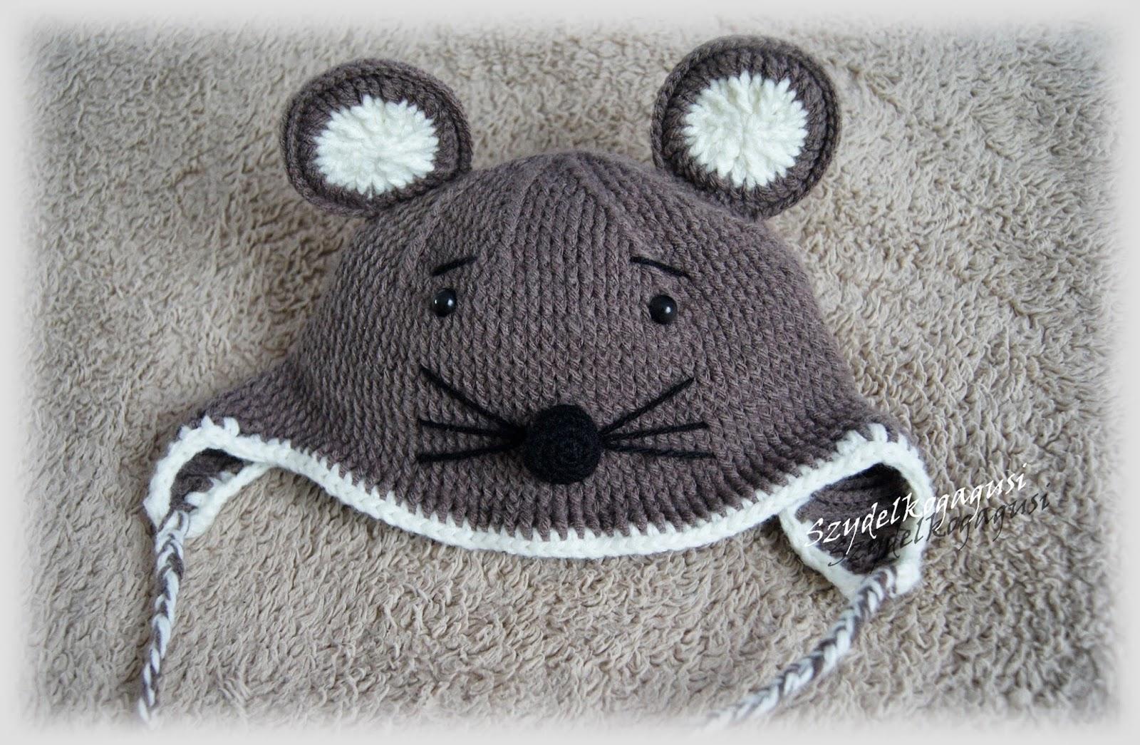 szydełkowa czapka mysz