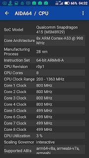 Hisense Pureshot - via aplikasi AIDA64: Nah ini baru benar, Snapdragon 415.