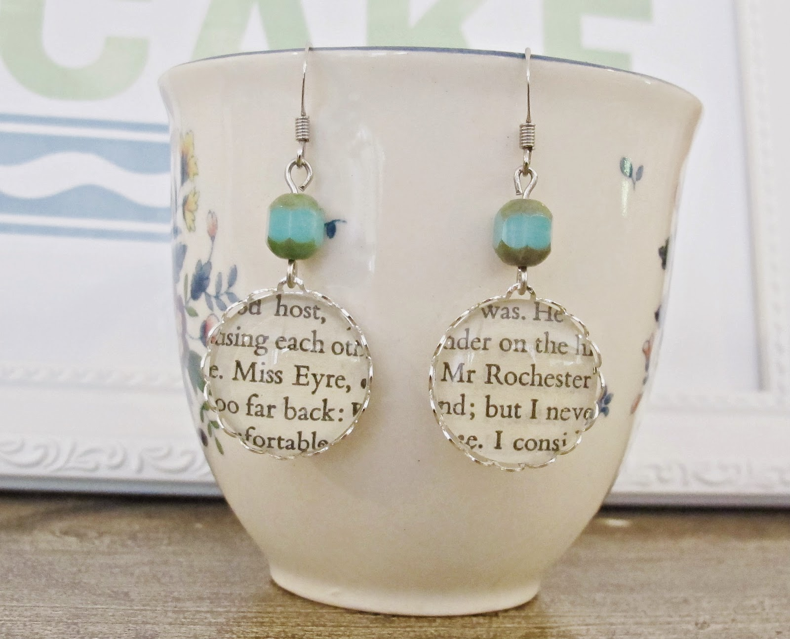 image jane eyre earrings turquoise miss eyre mr rochester bronte literature two cheeky monkeys silver plated