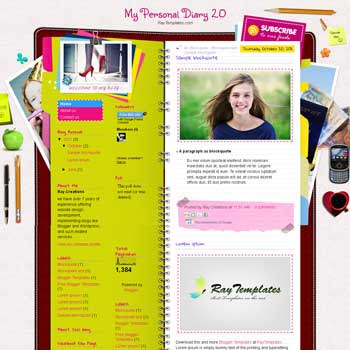 My Personal Diary 2.0 blogger template. download personal blogger template. free blogspot template