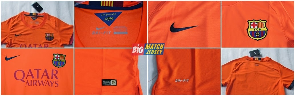 Detail Jersey Grade Original (GO) Official 2014-2015 Barcelona Away Ladies