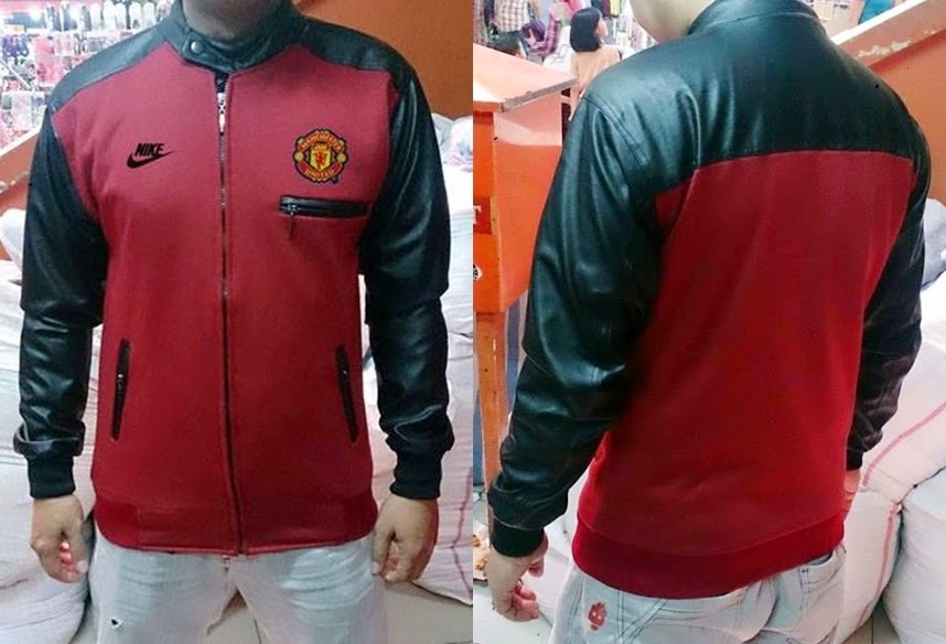 Jaket Bola Sporty Bahan Flecee Kombinasi Kulit Manchester United Merah-Maroon Black