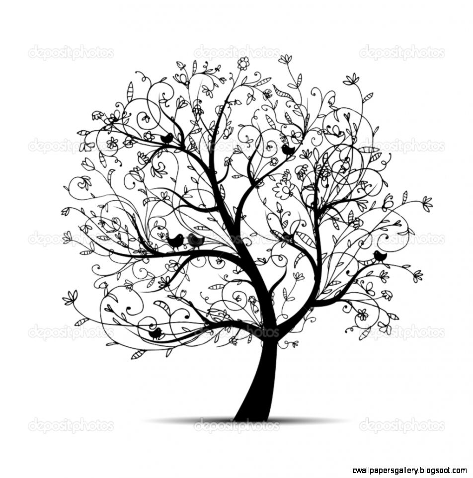 Art tree beautiful black silhouette for your design — Stock
