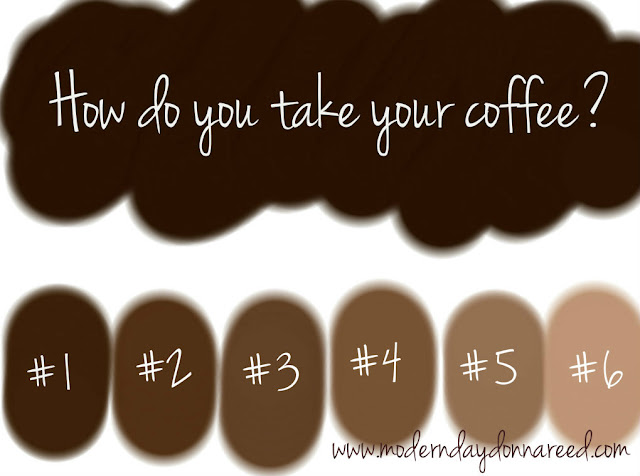 How do you take your coffee, Coffee Color Guide, Coffee, creamer, sugar, cream