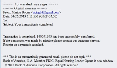 Fake Bank Of America Email Example 2