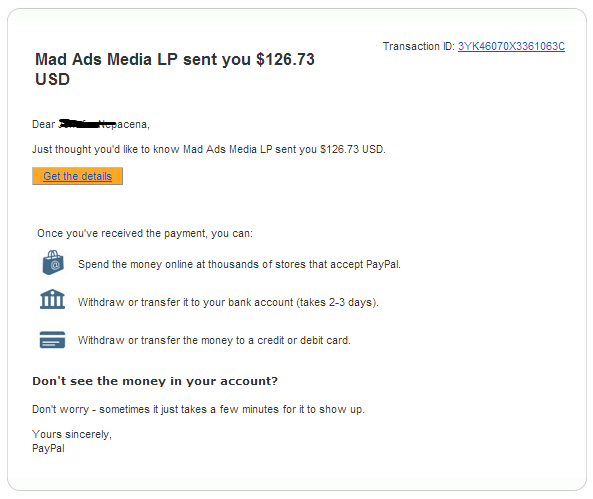 Payment proof for MadAdsMedia