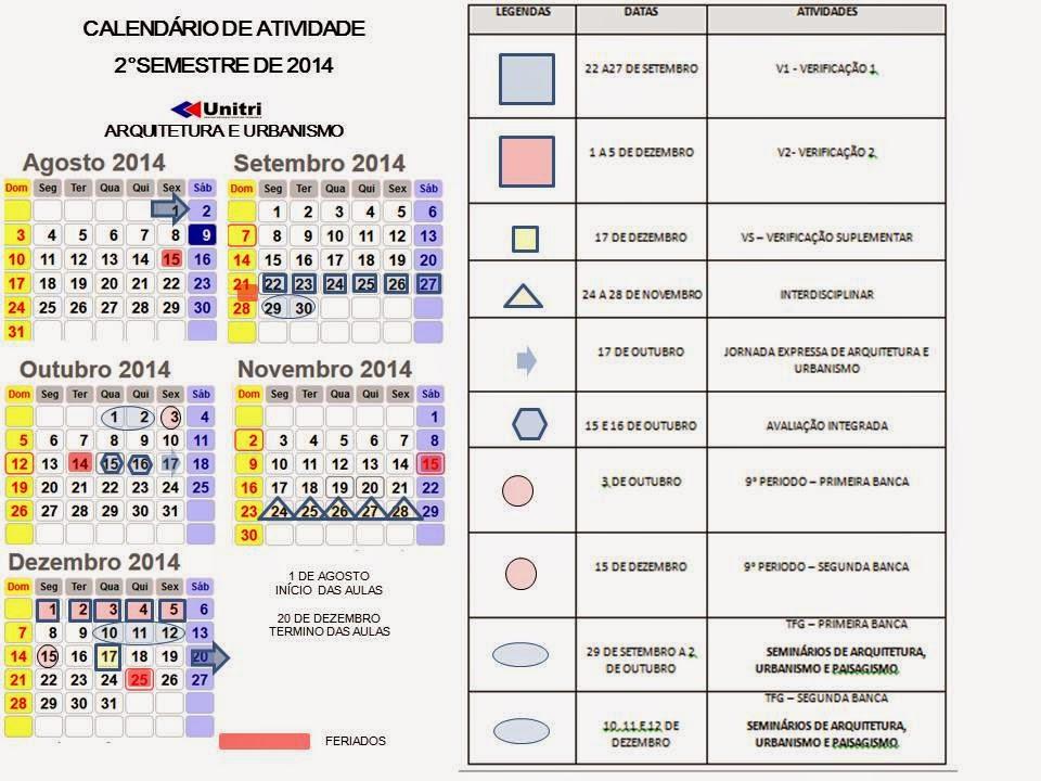 CALENDÁRIO COM AS ATIVIDADE DO CURSO 2014/2