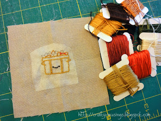 Autumn Stitching Club, block 2 in progress