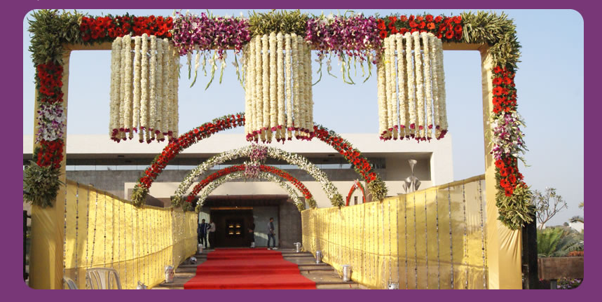 A wedding planner indian wedding hall and mandap entrance for Hall decoration images