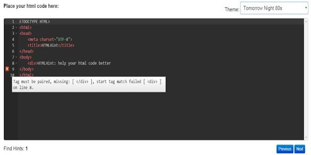 htmlhint-線上檢查 HTML Javascript CSS 語法工具 自動偵測錯誤
