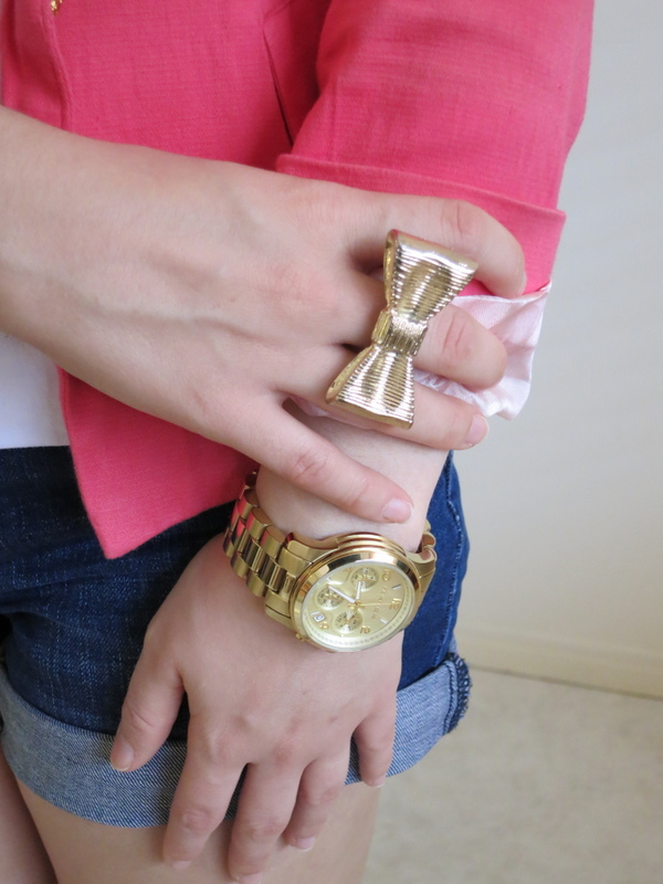 gold watch, bow ring