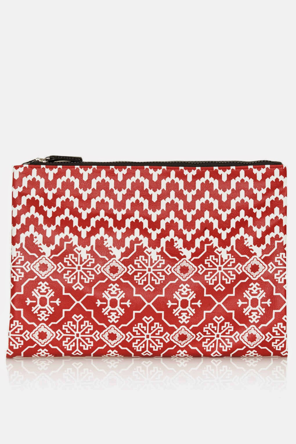 red printed clutch