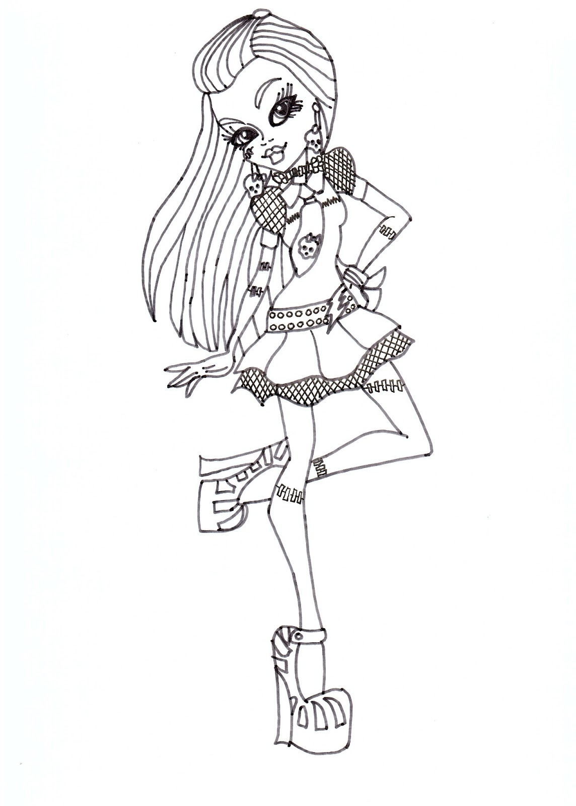 Frankie Stein Free Printable Monster High Coloring Sheet