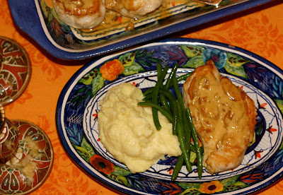 Chicken Diable served with Mashed Potatoes & Green Beans