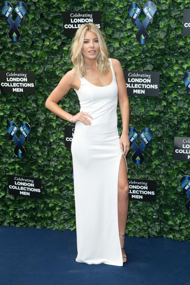 Mollie King is sultry in a white dress at the One For The Boys Fashion Ball in London