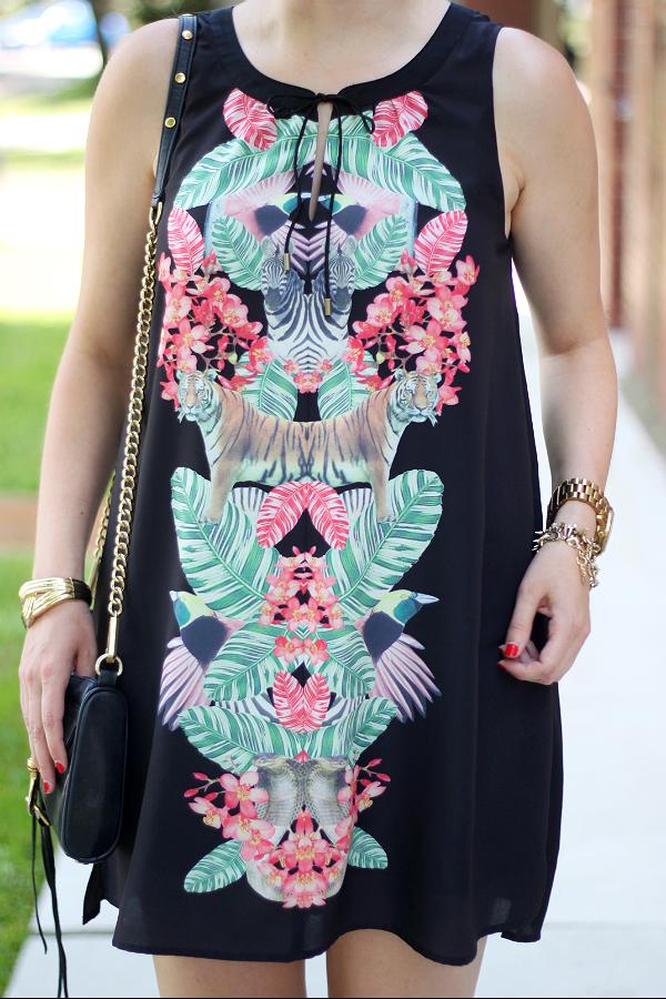 Palm Leaf Print, Tropical Jungle Print, Gentle Fawn Paradise Dress