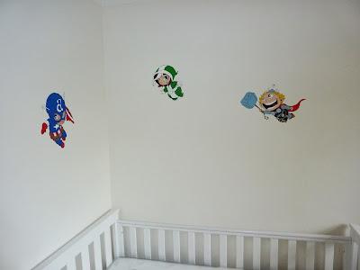 Superheroes nursery mural