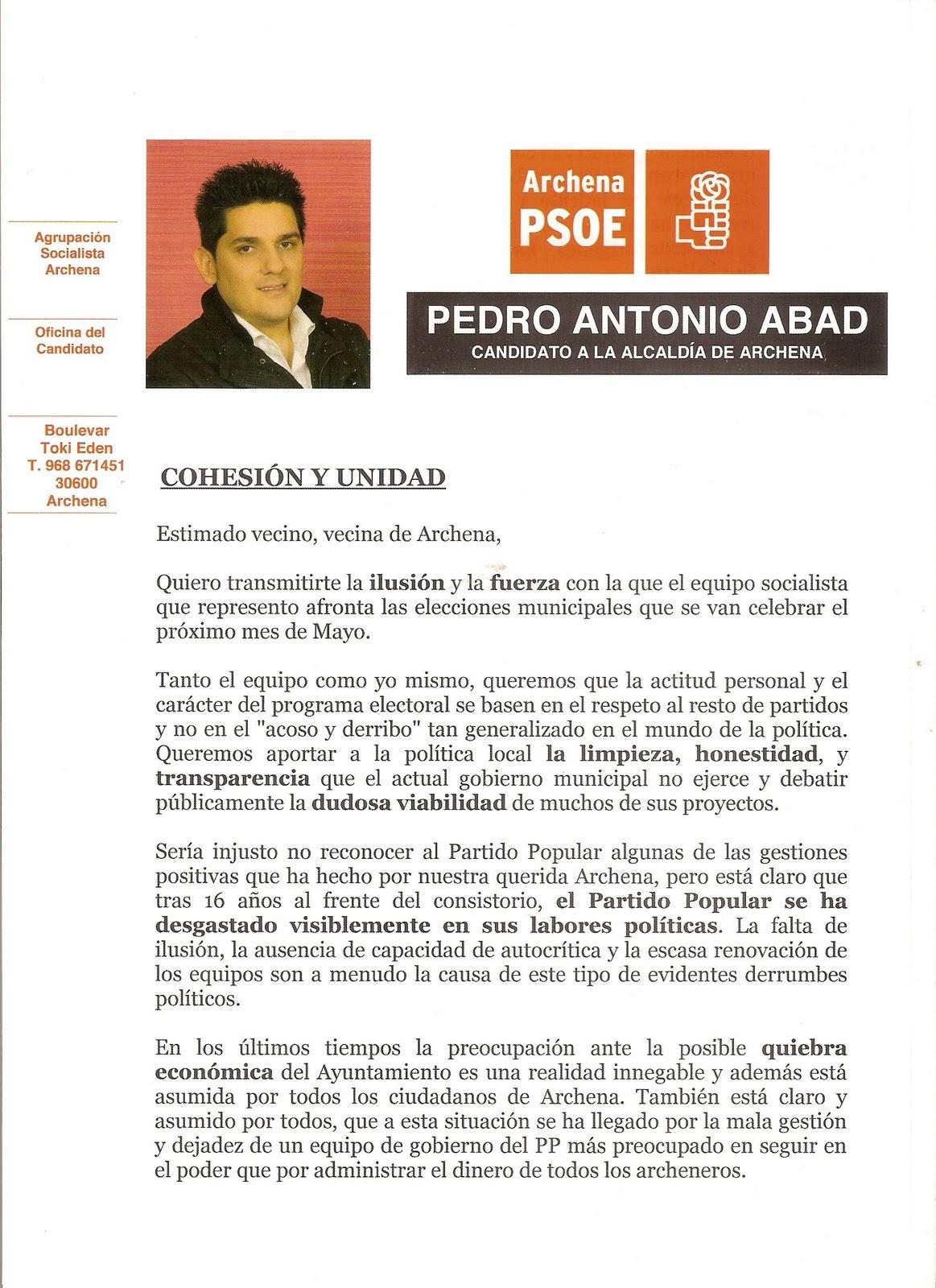 Archenanews/Sociedad: Carta de presentación del candidato del PSOE a ...