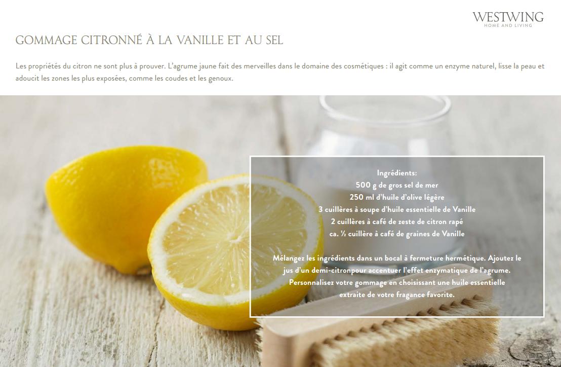 Gommage citronné à la vanille et au sel