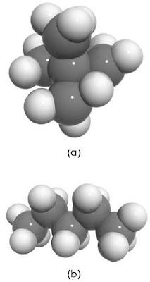 (a) bentuk molekul neopentana (b) bentuk molekul normal pentana