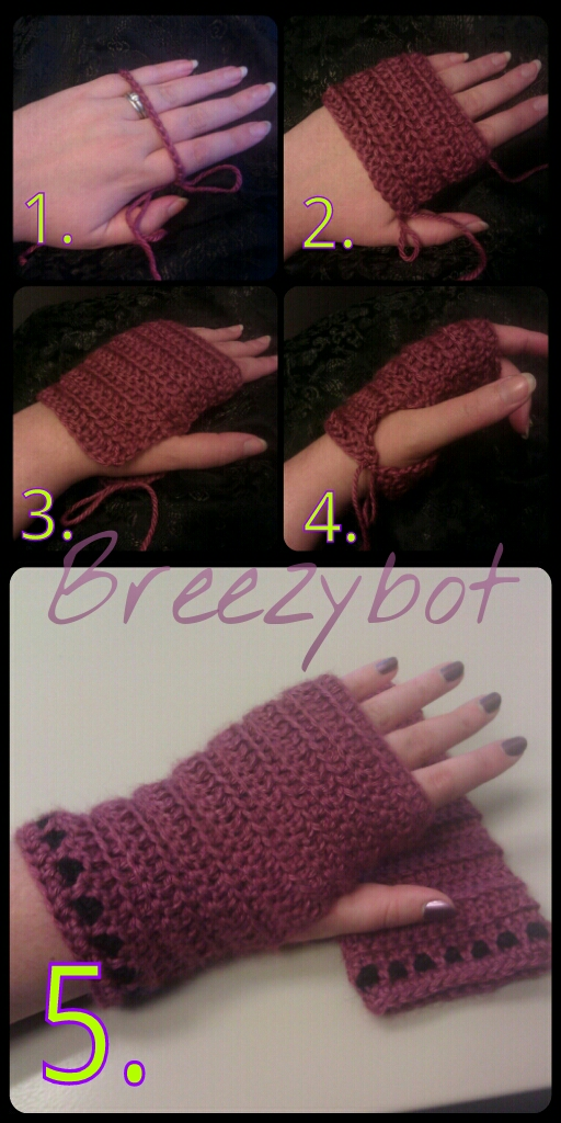 Double Crochet Fingerless Gloves Free Pattern : Breezybot: FREE PATTERN/TUTORIAL Fingerless Gloves
