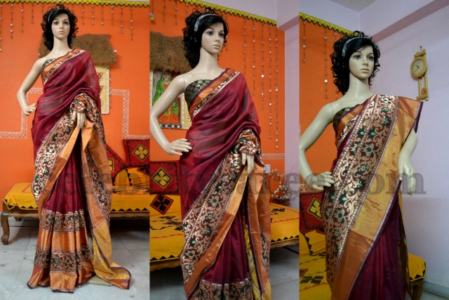 Heavy Border Crepe Sari in Maroon