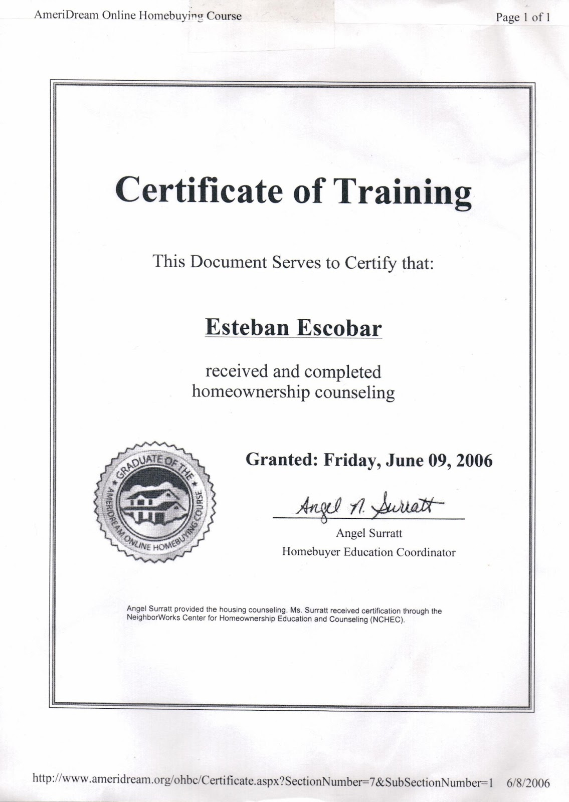 Certificate of Homeownership Counseling Training to Esteban Steven ...