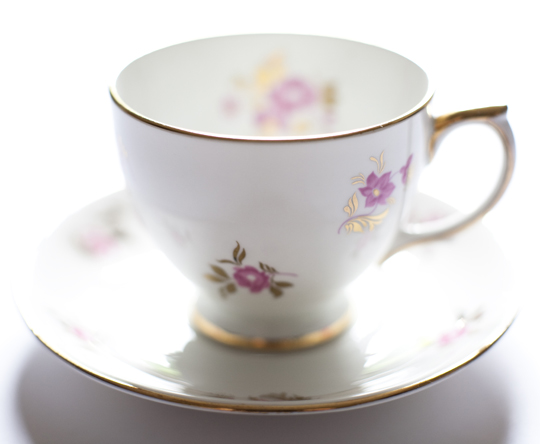 pink and gold floral vintage teacup