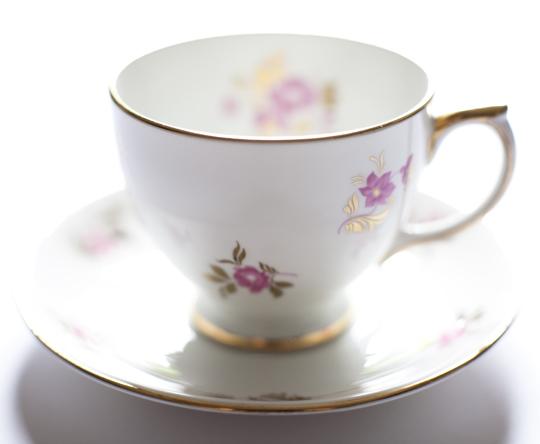 pink and gold floral vintage teacup