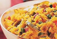Arroz com Legumes e Suco de Laranja (vegana)