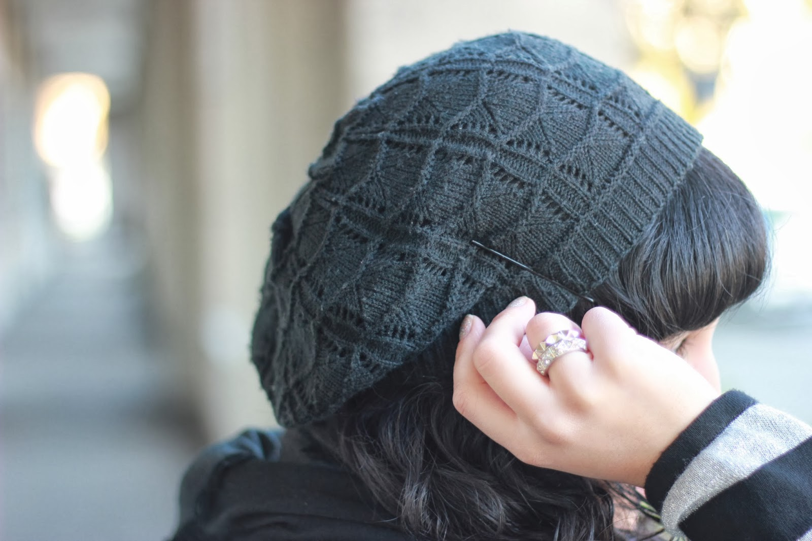 Black Knit Beanie and Stacked Rings