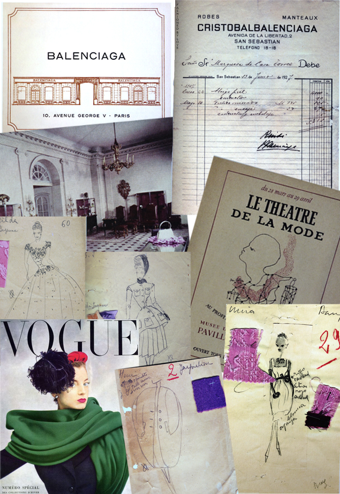 Invoice from the firm Cristobal Balenciaga 1927, invitation to Balenciaga first fashion show, Balenciaga salon in Paris, Balenciaga atelier sketches for Winter 1943 collection, Le Theatre de la Mode poster by Jean Cocteau, atelier sketch for Summer 1947 collection, cover of Vogue Paris October 1950 by Irving Penn / Balenciaga books / Balenciaga Paris / via fashioned by love british fashion blog