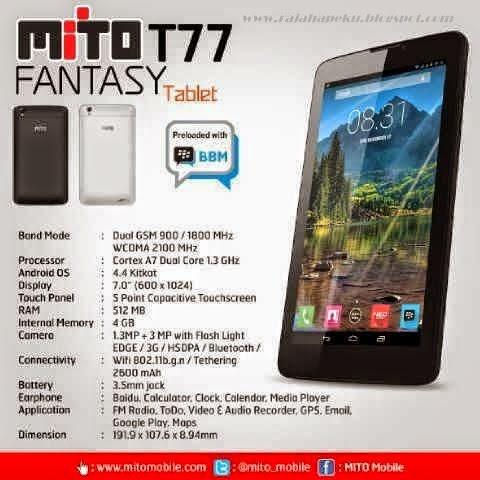 Harga Dan Spesifikasi Mito Fantasy T77, System Operasi Android KitKat