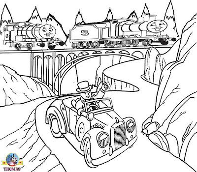 Sir Topham Hatt car Thomas the tank engine Percy and James the red train drawing for kids to print