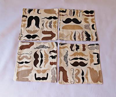 image reusable fabric cocktail napkins set domum vindemia alexander henry brown tea beige black tan ombre moustache handlebar mo stache