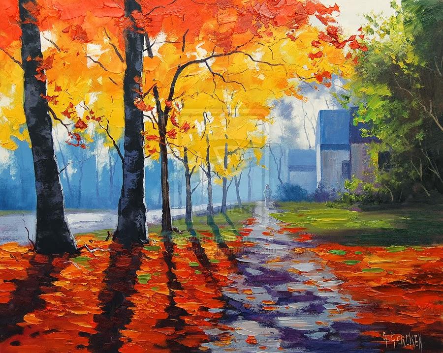 Autumn landscape art project ideas artmuse67 for Artwork landscapes
