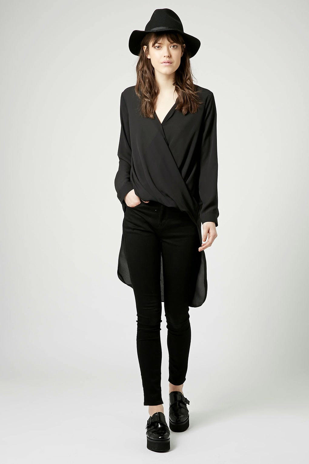 black topshop shirt with long back